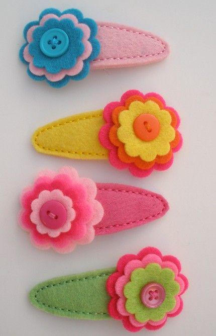 Lillianne- Stacked Flower Hair Clip-felt flower hair clip, hair ...