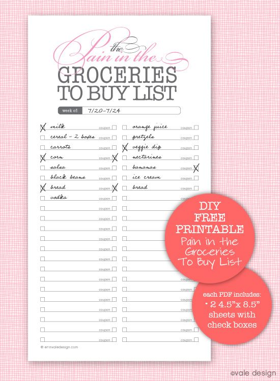 downloadable grocery lists
