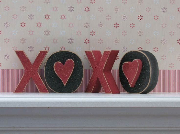 XOXO BLOCKS for valentines shelf desk mantle and home by lisabees, $10.50