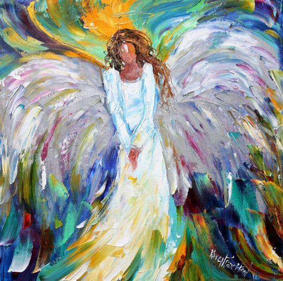 ... oil painting Angel Bright palette knife impastomodern texture fine art Oil Paintings Of Angels