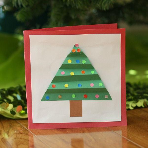 Christmas crafts for kids homemade christmas card for Christmas card christmas tree craft