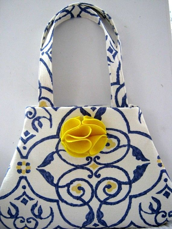 Blue, white and yellow purse