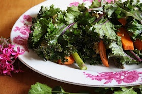 Kale wraps with sweet potato and asparagus. I'd probably leave out the ...