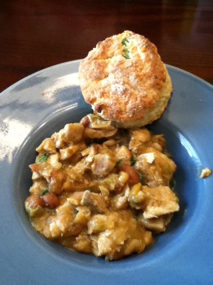 chili with cheddar and chive biscuits. Delish!!!! 8-12 chicken thighs ...