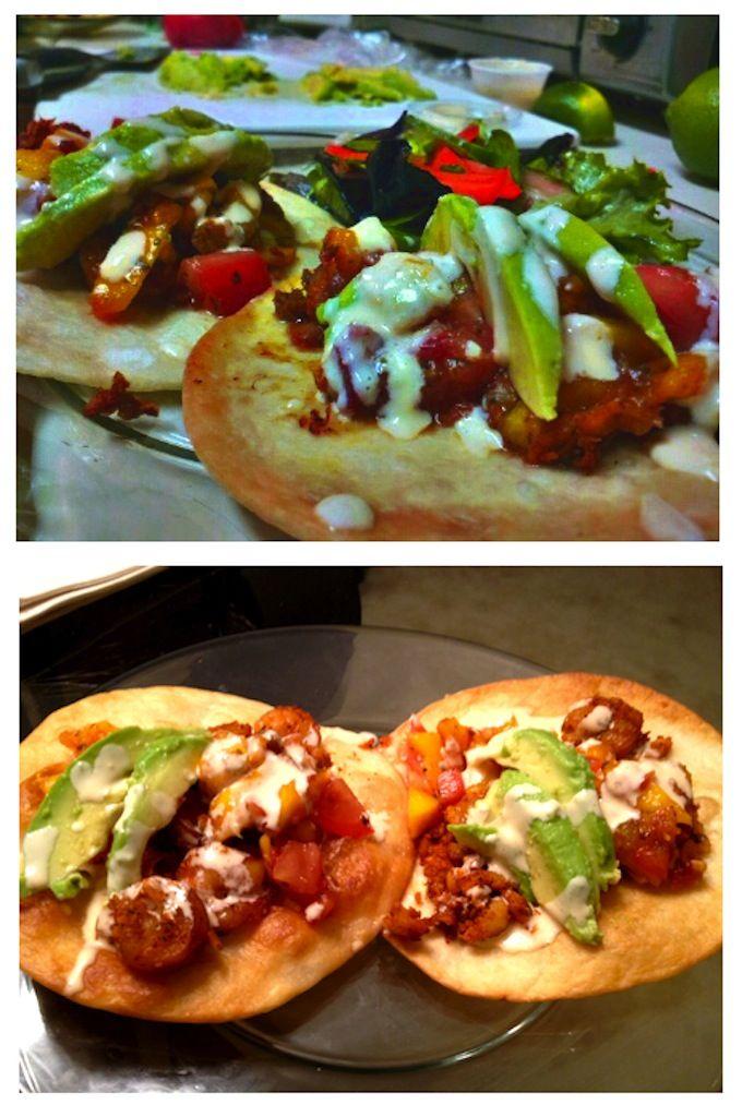 Shrimp & Cod Tostadas topped w/ Mango-Salsa, Lime-soaked Avocado ...