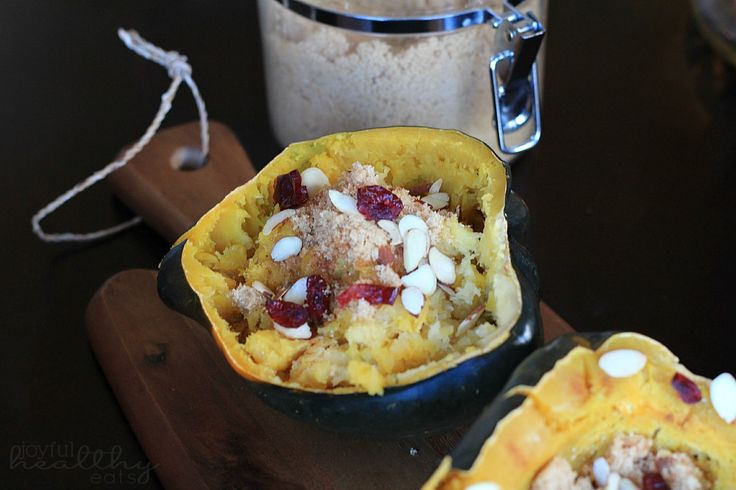 Roasted Acorn Squash with Cranberries, Almonds, & Brown Sugar #Myster ...