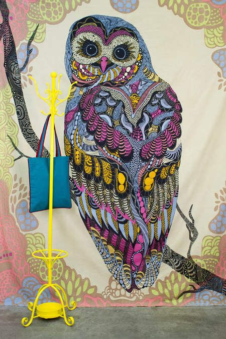 Patchwork Owl Tapestry from Earthbound! Perfect dorm decor. 100% cotton and an EB exclusive design.