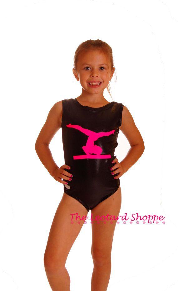 ... Mystique with Pink Balance Beam Motif Gymnastics Dance Lycra Leotard