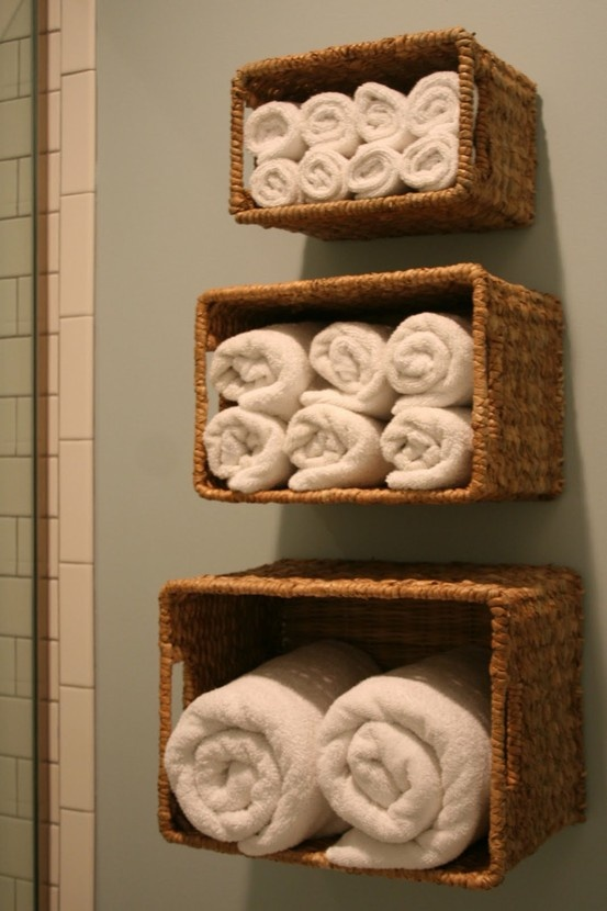 Decorating Bathroom Baskets Towels : Hanging towel baskets for the bathroom home decor and