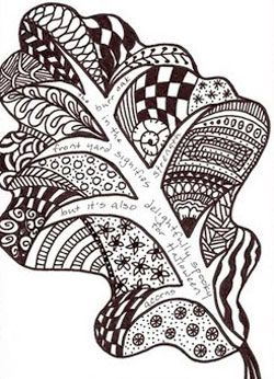 oak leaf zentangle