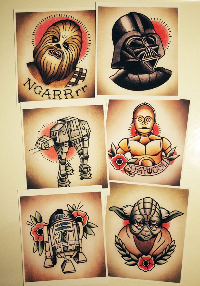 the gallery for traditional tattoo flash star wars