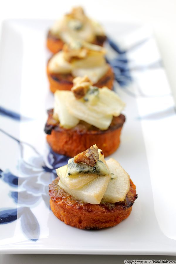 pear blue cheese yam recipe.. what a delicious appetizer idea!