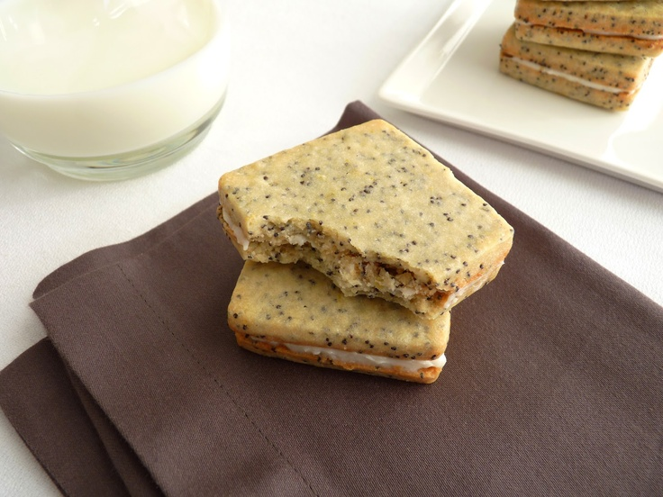Lemon Poppy Seed Sandwich Cookies with gooey cream cheese filling