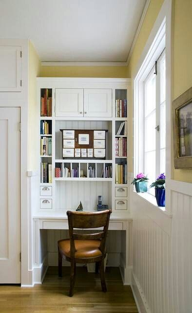Office nook home remodel ideas pinterest for Kitchen office nook