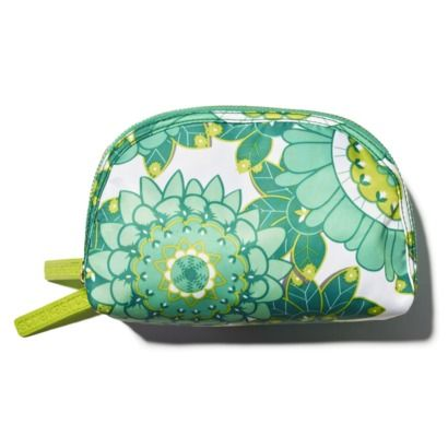 Sonia Kashuk Makeup on Sonia Kashuk Green Floral Double Zip Clutch   My Makeup Bag