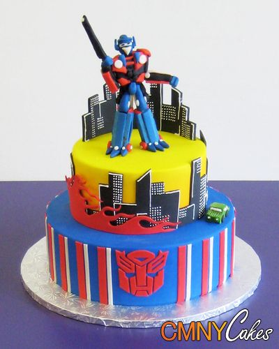 Optimus Prime Transformers Cake  Trevor would flip!  Maybe for the big 4-0?