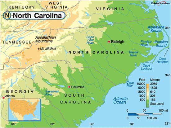 North Carolina Map Geography Of North Carolina Map Of