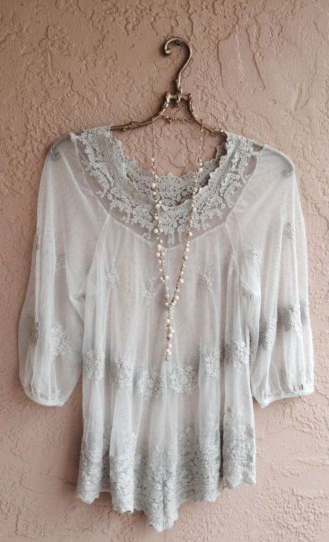 Bohemian sheer romantic grey embroidered lace top