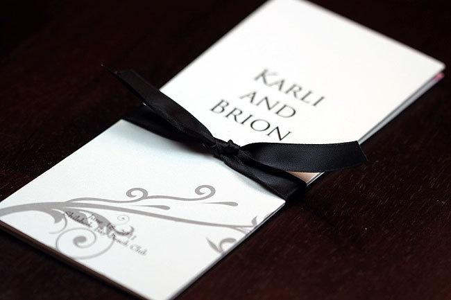 Custom tri fold wedding program with satin ribbon tie deposit