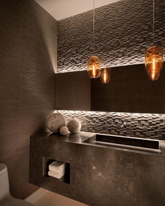Textured tile backsplash client 21 powder room pinterest for Textured backsplash