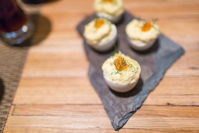 Smoked Trout Deviled Egg with Trout Roe | Kings County Distillery Eve ...