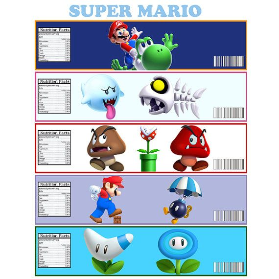 ... Mario Bottle Label - Digital File - for Super Mario party (5 labels