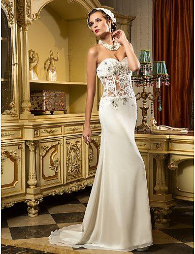 Sweetheart sweep brush train chiffon and tulle wedding dress