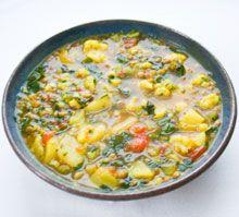 Lentil, cauliflower, potato soup