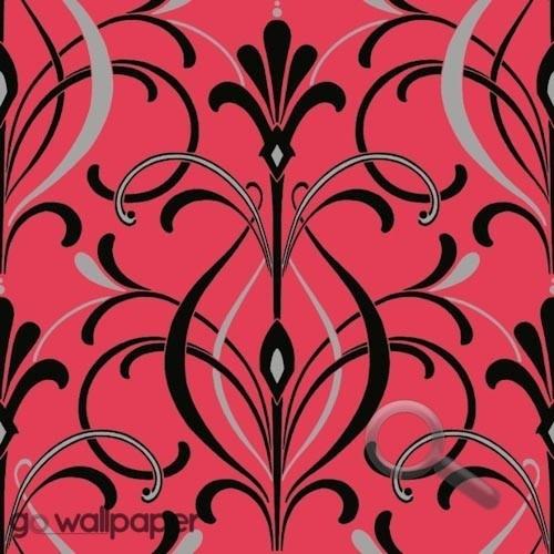 Art Deco Wallpaper In Coral Pink Black Art Deco