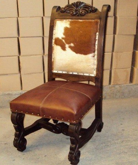 Rustic ranch furniture cowhide and leather dining chair cierra