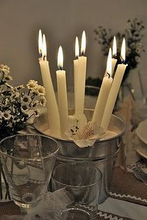 candle centerpiece - in a rustic bucket of sand
