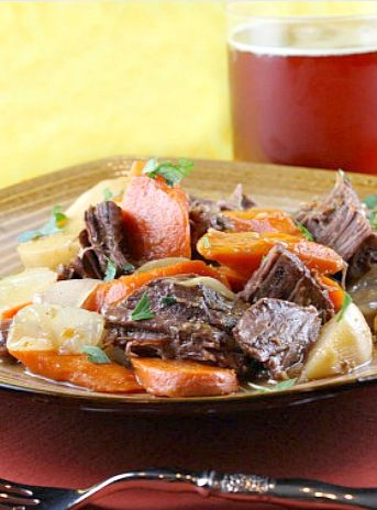Beer Braised Beef with Onion, Carrot and Turnips | Culinary Covers