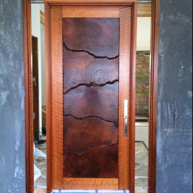 Custom redwood burl front door doors other portals for Custom front doors