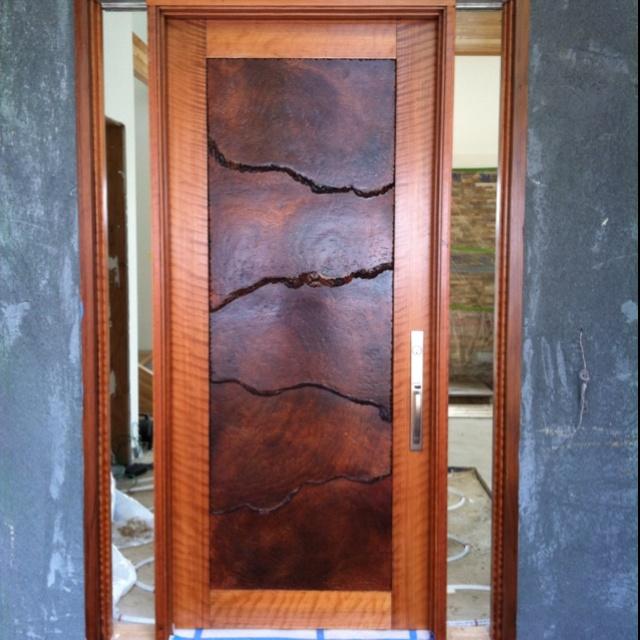 Custom redwood burl front door doors other portals for Custom front doors