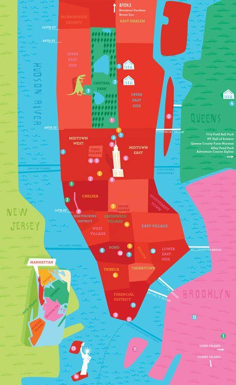 New York City  Map for kids ©Tania Willis 'KidsGo! NYC Guide'