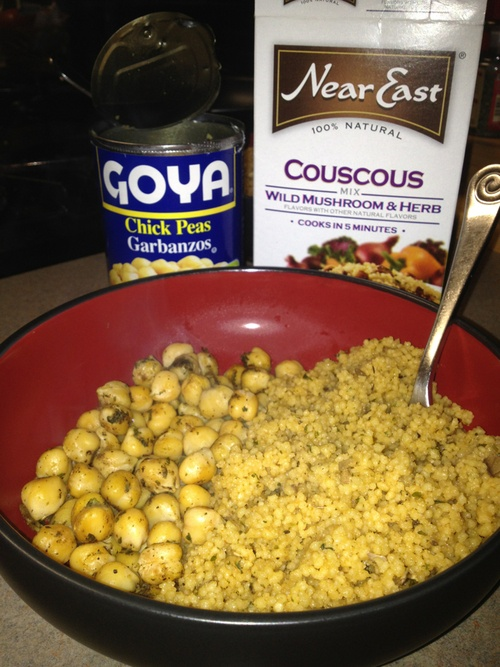 ... seasoned chickpeas And wild mushroom couscous 7 minutes to yummy