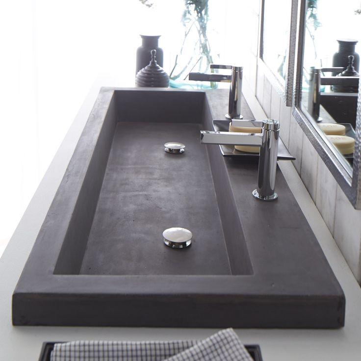 Wall Mounted Trough Sink : Modern trough sink instead of double vanities. Maybe do wall mounted ...