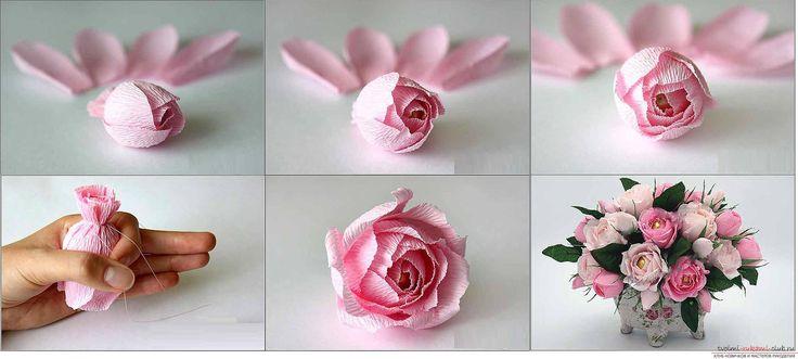 Как сделать розу из гофрированной бумаги с конфетой