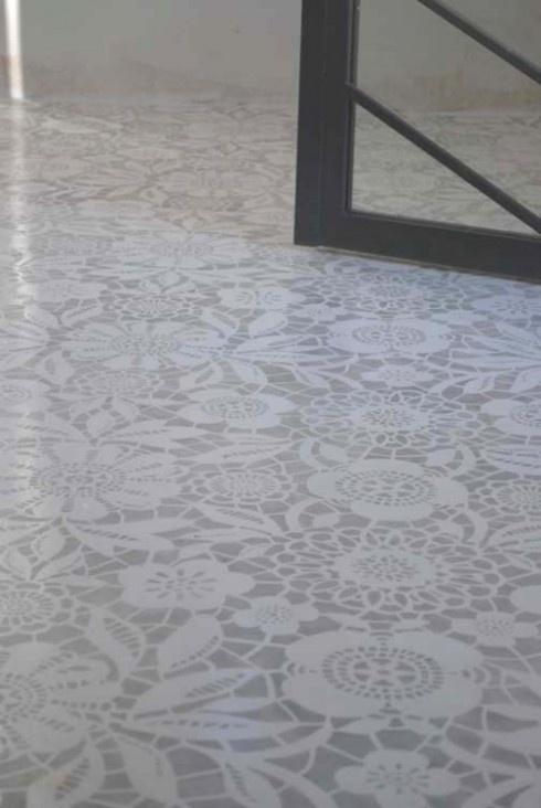 Stencil floors home basement pinterest for Floor stencils