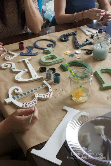 Craft night activity, everyone brings their initials & decorates them.