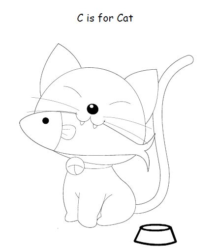 C is for cat kids coloring pages pinterest for C for cat coloring page