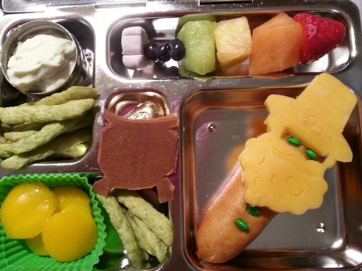 Key lime yogurt, peapod crackers, fruit rainbow skewer, fruit leather ...