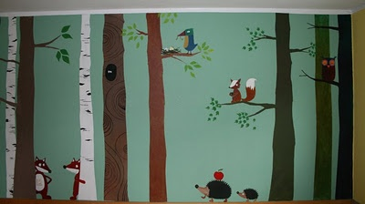 Wald - Wand - Tiere Kinderzimmer Pinterest
