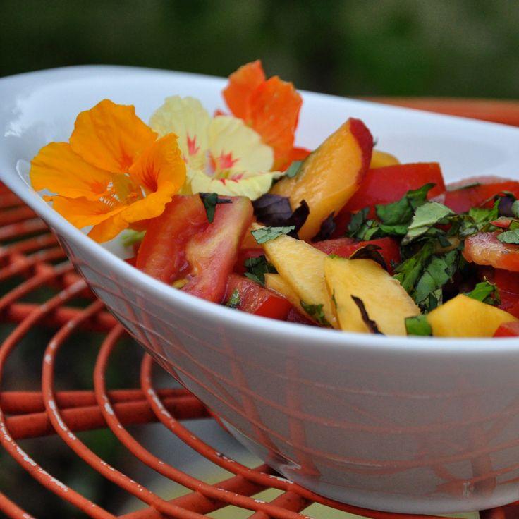 : Tomatoes and Peach Salad (Heirloom tomatoes, Lemon, Mint, Basil ...