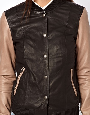 Paul by Paul Smith Varsity Jacket in Lambs Leather with Contrast Slee