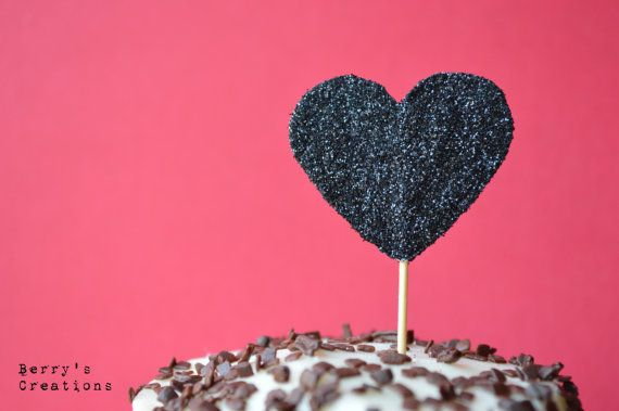 Glitter BLACK Heart Cupcake Toppers. 20 pieces by BerrysCreations, $12 ...