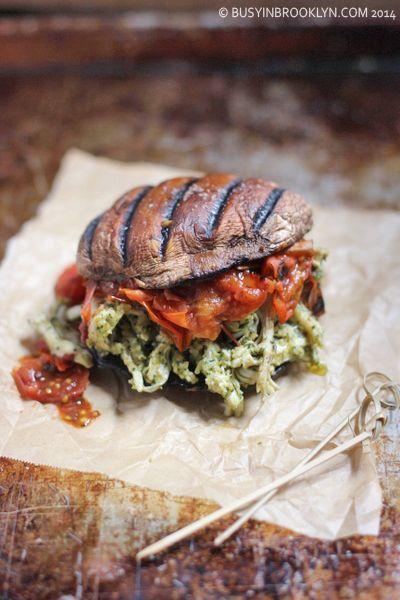 ... Pesto Chicken Burger with Fire-Roasted Tomato Jam on Portobello Bun