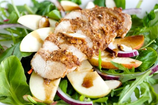 ... like this: pecan crusted chicken , apple salad and crusted chicken