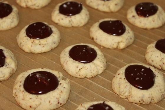 Almond Thumbprint Cookies with Dark Chocolate and Sea Salt | Recipe