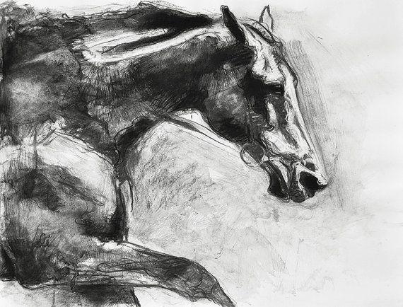 Black horse head drawing - photo#6